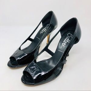 BUTTER crinkled black patent leather heels, Italy